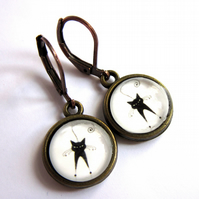 Spooky Black Cat Earrings Glass Jewellery