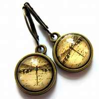Steampunk Dragonfly Vintage Style Earrings