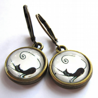 Vintage Style Black Cat Earrings