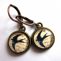 Retro Flying Swallow Bird Earrings Glass And Brass