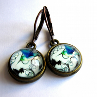 Blue Bird Vintage Style Earrings Hummingbird Jewellery