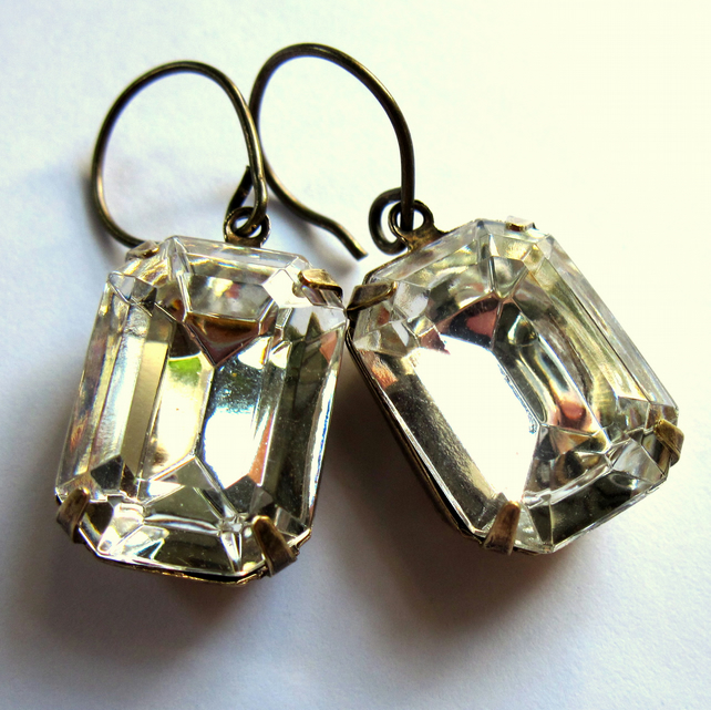 Clear Glass Claw Set Earrings Vintage Style Evening Jewellery