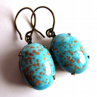 Vintage Style Turquoise Glass Claw Set Earrings Jewellery