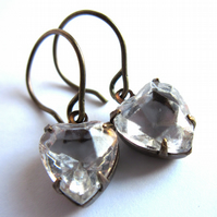 Glass Heart Evening Earrings Claw Set Fashion Jewellery