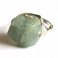 Aquamarine Raw Stone Ring Wire Wrapped Fashion Jewellery