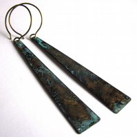 Verdigris Geometric Triangle Earrings Verdigris Fashion Jewellery