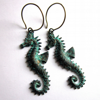 Verdigris Patina Sea Horse Earrings Fashion Jewellery