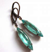 Aqua Blue Glass Navette Earrings Claw Set Fashion Jewellery
