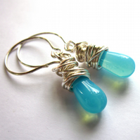 Teal Teardrop Wire Wrapped Earrings Fashion Jewellery