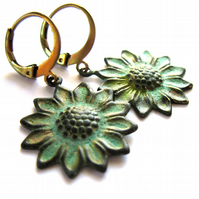 Verdigris Sunflower Earrings Fashion Jewellery