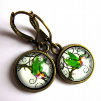 Green Hummingbird Dangle Earrings Fashion Jewelry
