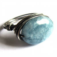 Sterling Silver Sky Blue Aquamarine Gemstone Wire Wrapped Ring