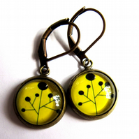 Yellow Abstract Black Flower Earrings