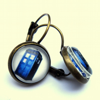 Tardis Earrings Glass Retro Fashion Jewellery