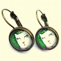 Cartoon Cat Earrings Glass Brass Fashion Jewellery