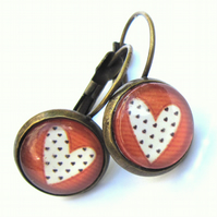 Polka Dot Heart Vintage Style Earrings Fashion Jewellery