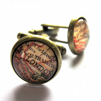 London Map Cufflinks Men Jewellery