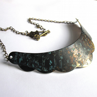 Verdigris Patina Crescent Necklace Boho Fashion Jewellery