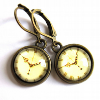 Vintage Style Clock Earrings Fashion Jewellery
