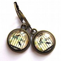 Old Fashioned Bird Cage Vintage Style Earrings Fashion Jewellery