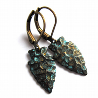 Spear Head Textured Earrings Verdigris Patina Fashion Jewellery