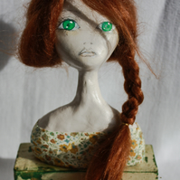 Handmade Clay Art Doll Bust 'Fiery Florette'
