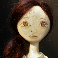 Bespoke, Handmade, Clay Art Doll with Vintage Fabrics. 'Nell'
