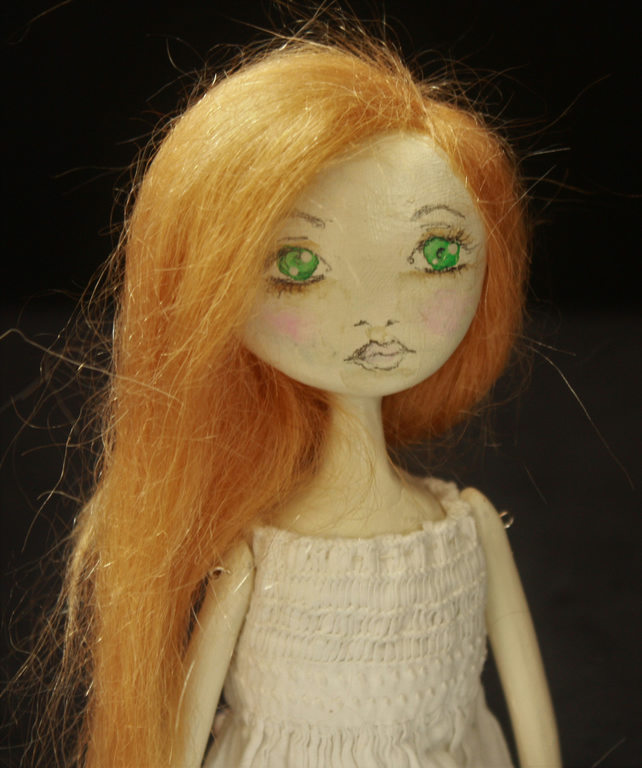 Bespoke, Handmade, Clay Art Doll with Vintage Fabrics. 'Esme'