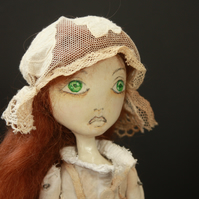 Bespoke, Handmade, Clay Art Doll with Vintage Fabrics. 'Mary Yellan'.