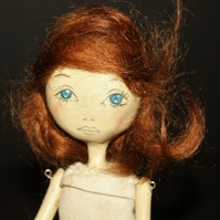Bespoke, Handmade, Clay Art Doll with Vintage Fabrics. 'Rosie'
