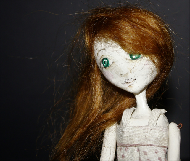 Bespoke, Handmade, Clay Art Doll with Vintage Fabrics. 'Florette'