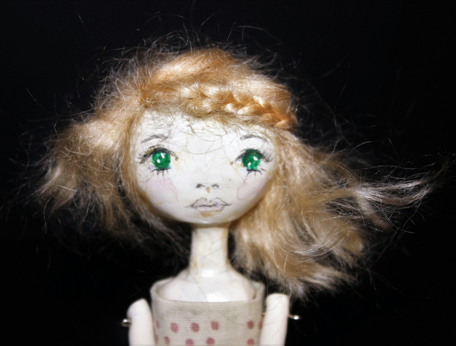Bespoke, Handmade, Clay Art Doll with Vintage Fabrics. 'Luna'