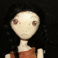 Bespoke, Handmade, Clay Art Doll with Vintage Fabrics. 'Anouk'