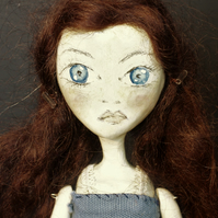 Bespoke, Handmade, Clay Art Doll with Vintage Fabrics. 'SORREL'