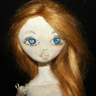 Bespoke, Handmade, Clay Art Doll with Vintage Fabrics. 'Pia'