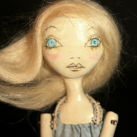 Bespoke, Handmade, Clay Art Doll with Vintage Fabrics. 'Beth'