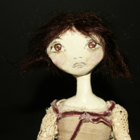 Bespoke, Handmade, Clay Art Doll with Vintage Fabrics. 'Maud'