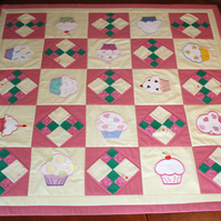 Quilt or Table Topper - Cupcakes for Tea
