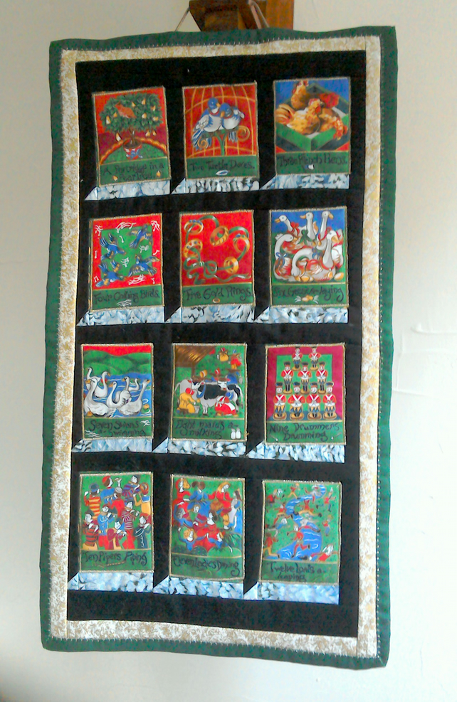 Days of christmas wall quilt folksy