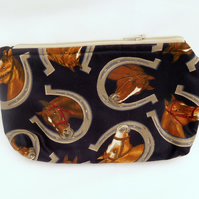 Zipped Pouch with Horses and Horseshoes