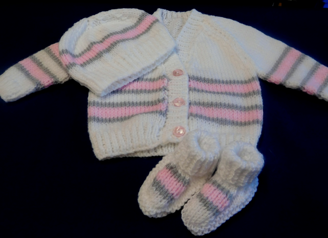 Coat, Hat and Bootees for New Baby.