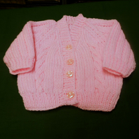 Baby Cardigan  - Cable Pink