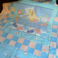 Patchwork Cot Quilt - Sleeping Teddy, Baby Quilts, Play Mat Quilt, 100% Cotton