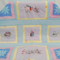 Baby Quilt - Bunny Love - Embroidered and Patchwork Baby Quilt.