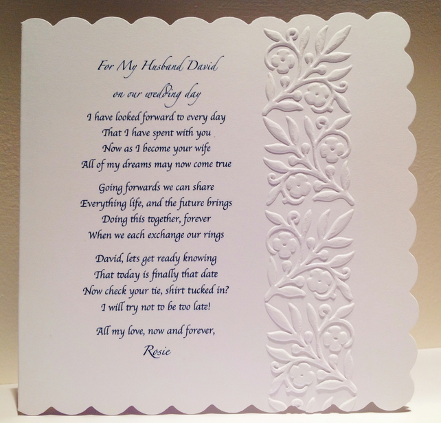 Personalised Husband To Be Groom Wedding Day Poem From Wife Bride Pers