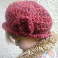 Little Girl's Red Winter Hat 'Strawberry Shortcake' with flower