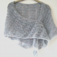 Ladies soft shell shawl in fuzzy sea pebble