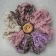 Flower brooch in pink, grey and white