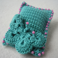 Pin cushion in green with beads and butterfly