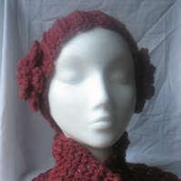 Ladies Red Ear Warmer / Headband & Scarf Set